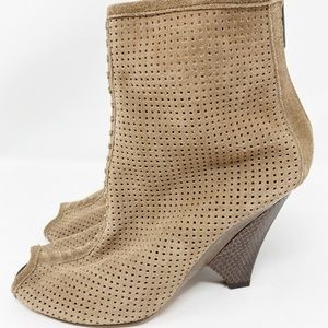 Sam Edelman Taupe Perforated Suede Ankle Boots
